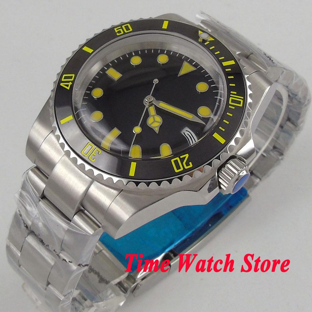 40mm black dial luminous yellow marks Resin crystal Ceramic Bezel Automatic movement  men's watch wristwatch 108