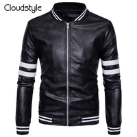 Cloudstyle 2018 Leather Jacket Men Zipper Fashion Long Sleeve Striped Overcoat High Quality Casual Style Slim