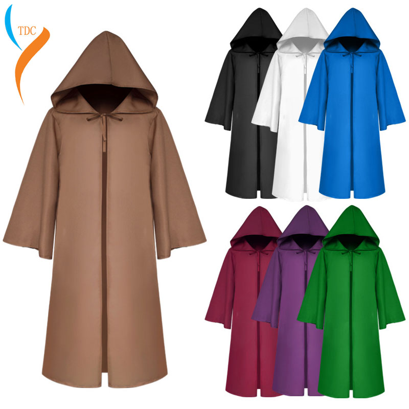 Halloween Death wizard Cloak Cosplay Costume Monk Hooded Robes Cloak Cape Friar Medieval Renaissance Priest kids adult in Anime Costumes from Novelty Special Use
