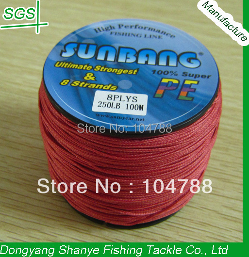 Free Shipping 250LB 1.1mm 8 Strands 100M Wholesale Factory Price Super Strong Japan Braided Fishing Line -- SUNBANG