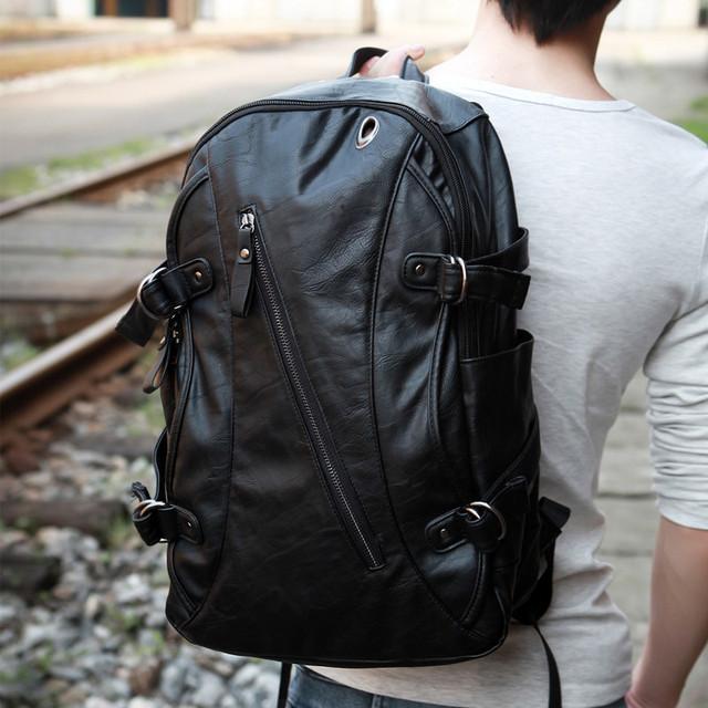 Faux-leather Fashion Backpack Men's Backpack School Backpack Travel Backpack bag bookbag school bag Black Brown
