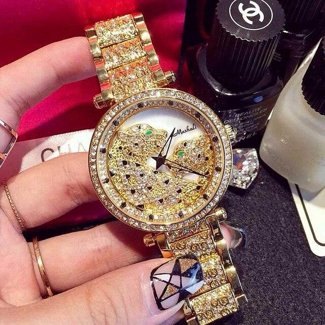 84163f39b197 The Most Popular Women Watches Luxury Leopard Rhinestone Wristwatches Lady  Crystal Dress Watch Mashali Female Diamond watch