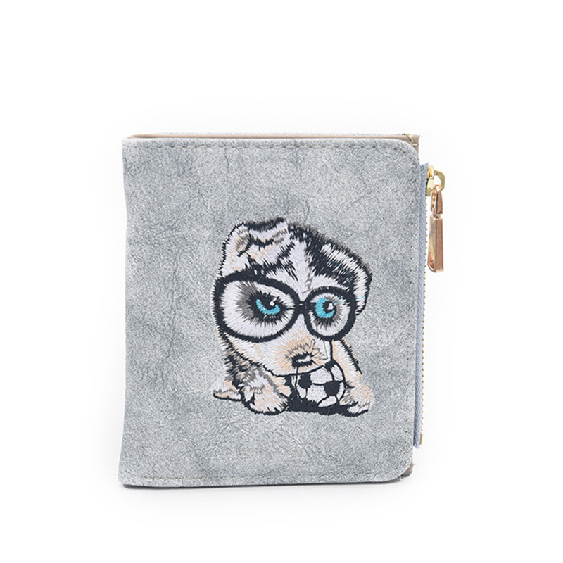 Cute Animals Women Embroidery Wallet Puppy Dog Cat PU Leather Zipper Mini Female Purse Short Fold Card Holder Ladies Money Bags youyou mouse fashion cute wallet cartoon embroidery pattern retro purse short section pu leather 2 fold multi card bit wallets