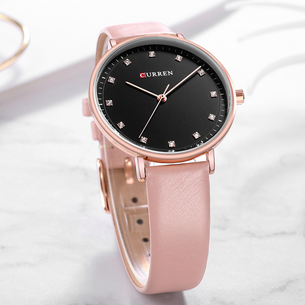 CURREN Fashion Quartz Watches Womens Simple Diamond Elegant Ladies Wrist Watch Female Clock Leather Watch For Women Reloj Mujer