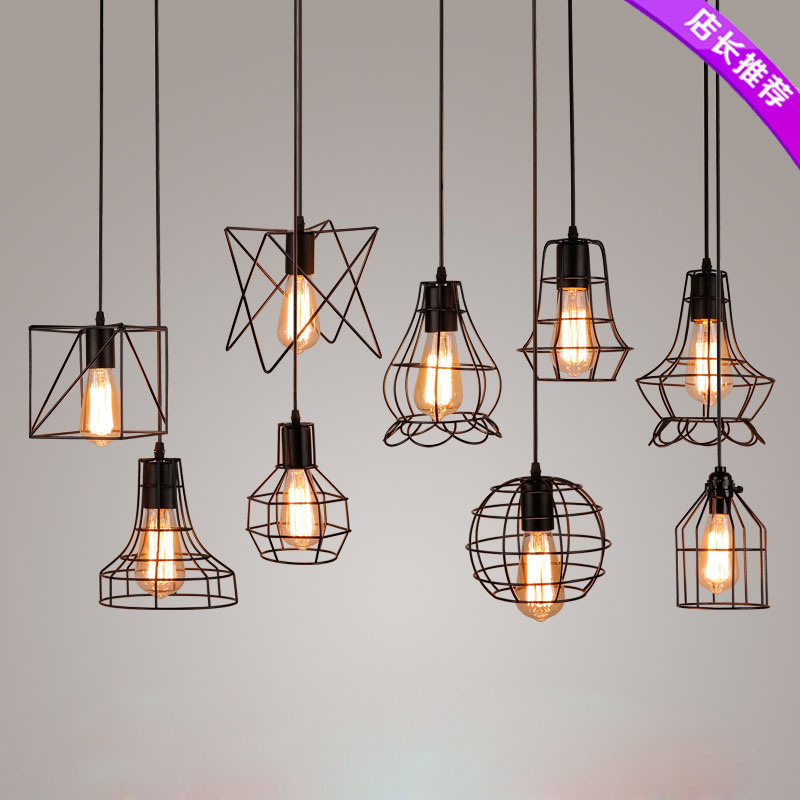 Z American Style Vintage Lighting Fixture Art Restaurant Bar Retro Industrial Wind Lámpara colgante Almacén Tienda Small Cages Lamp