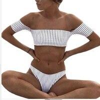 נשים בגד ים ביקיני סקסי 2018 בגדי ים חדשים שרוולים קצר פסים לא כתף ביץ 'מאיו דה ביין בגד ים השחייה