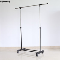 Liplasting Clothes Organizer Display Clothes Rack Adjustable Coat Garment Hanging Dry Rolling On Wheels Shoes Rack