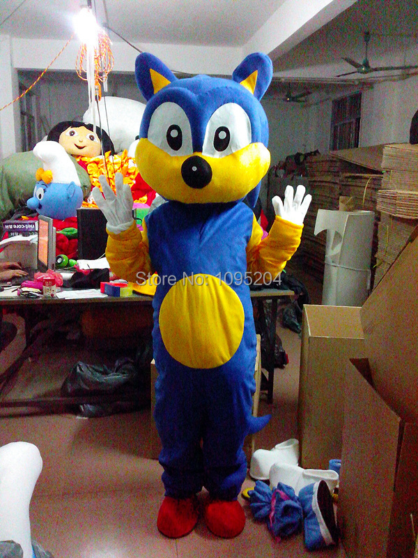 BING RUI CO High Quality New Sonic the Hedgehog Mascot Costume Sonic Mascot Costume Cosplay Free Shipping