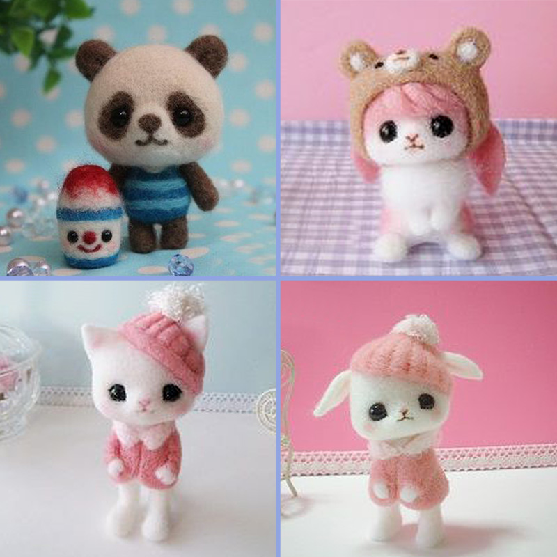 2019 Creative Lol Animal Panda CatToy Doll Wool Felt Poked Kitting Non-Finished Easy DIY Handcarft Wool Felting Material