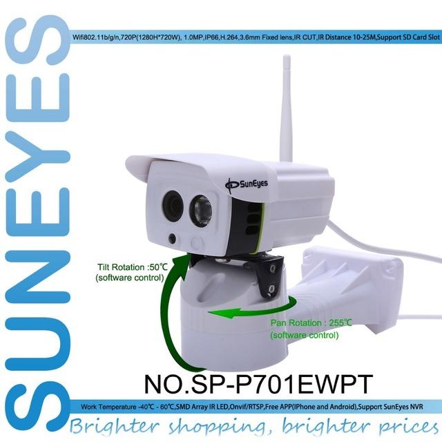 Sp-p701ewpt suneyes 720 p hd pan/tilt rotação câmera ip p2p ip66 à prova de intempéries ao ar livre sem fio com micro sd slot telefone vista