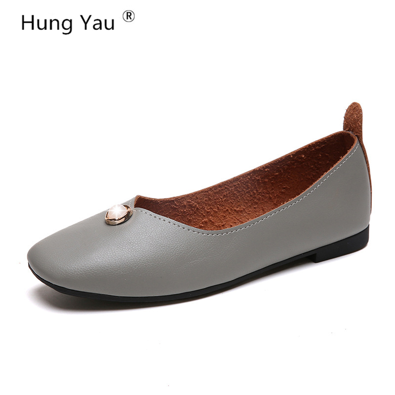 Hung Yau Pearl Glitter Flats Shoes For Woman Comfort Slip On Casual Soft Leather Women Brown Black Shoes Autumn Loafers Size 8 цена