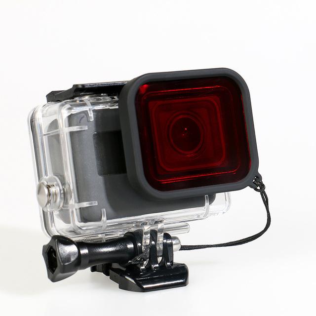 Subaquática à prova d' água caso escudo protetor com base de atividade e filtro vermelho mergulho lens filter para gopro hero 5