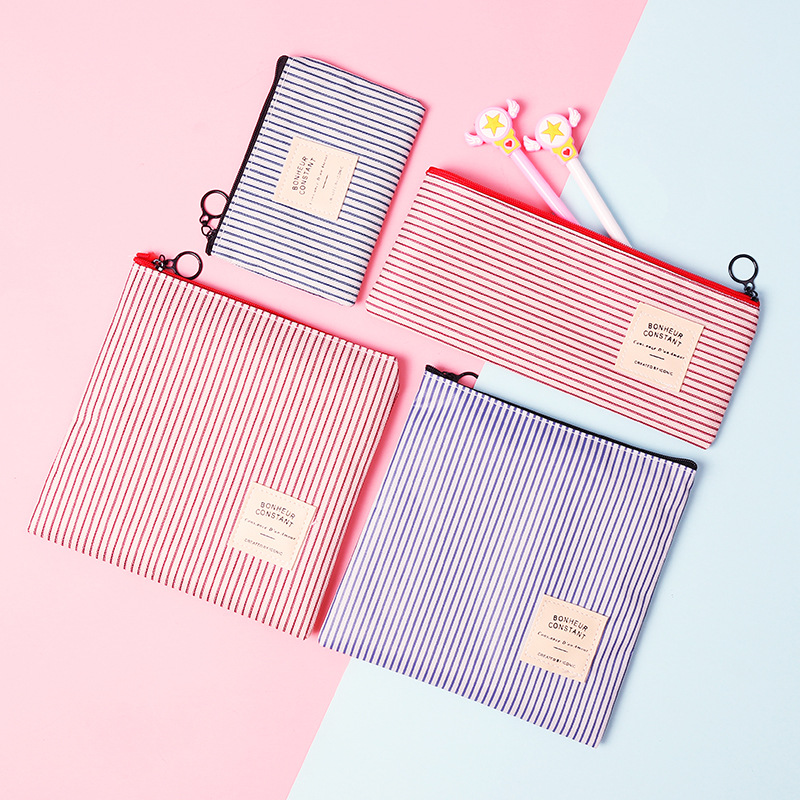 Cute Stripe File Holder Fashion Zipper Oxford Document Bag Pencil Case Korean Staionery Office School Supplies ZAKKA