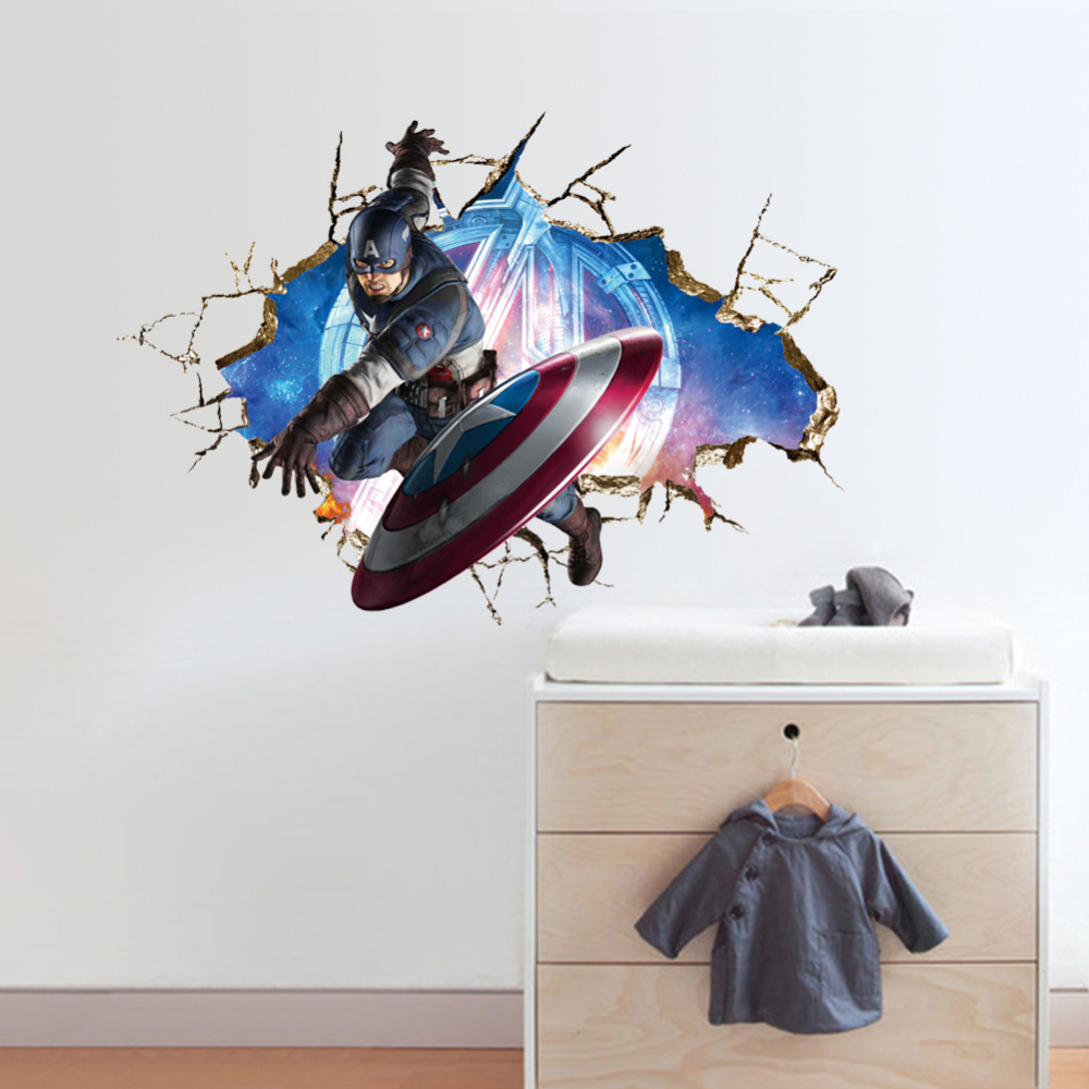 Avengers 3D Through Wall Stickers Decals Art for Baby Nursery Home Decoration Captain America WallPaper Kids Cartoon Poster Y008 in Wall Stickers from Home Garden