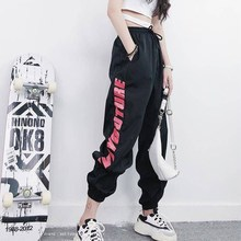 MISSMEOW reflective pants womens women summer High Waist sports for Loose Hip Hop Casual trousers