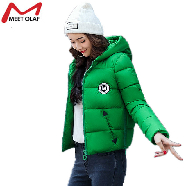 Women Short Winter Jackets and Coats Hooded Cotton Padded Parkas Female Outwear Girls Students Wadded Overcoat 2017 New Y1006