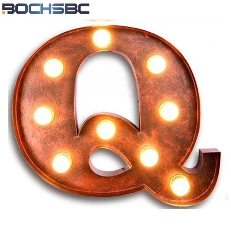 BOCHSBC Metal Q Wall Lamps American Bar Cafe Letter Lights for Vintage Wall Sconce Backdrop Decorative Alphabet LED Lampara Lamp