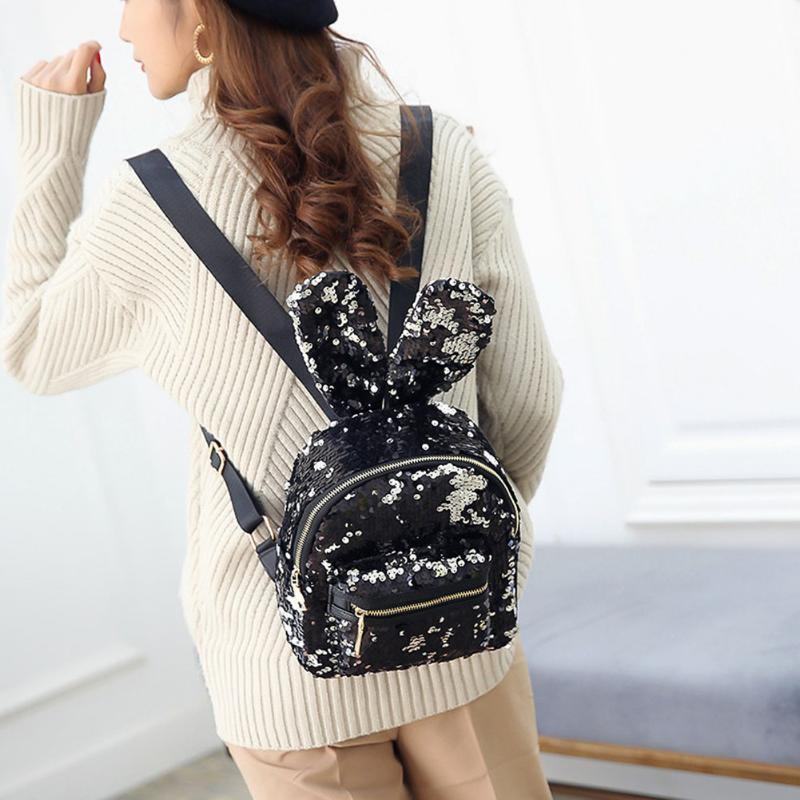218b91119175 Women Bling Sequins Backpack Cute Big Rabbit Ears Double Shoulder Bag Women  Mini Backpacks Children Girls Travel Bag mochila2017