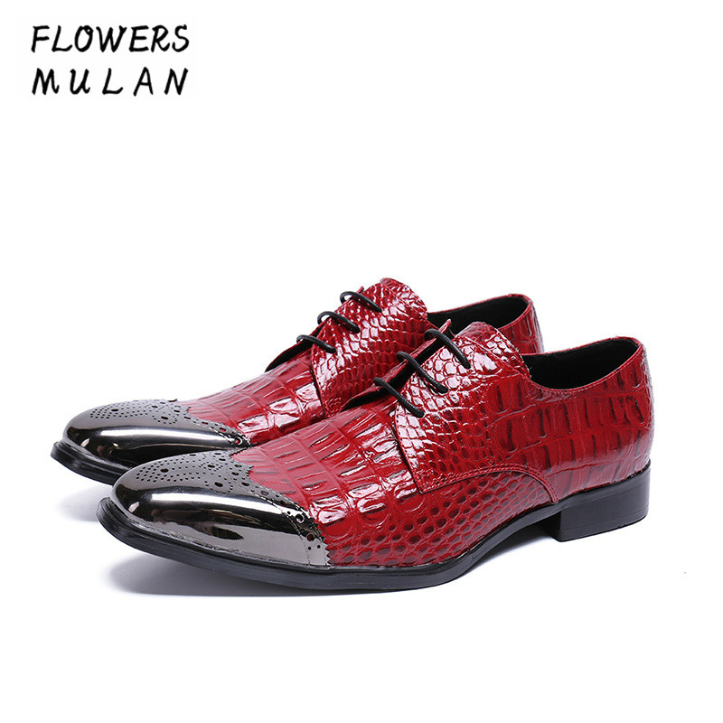Fashion Red Patent Crocodile Leather Men Dress Shoes Metal Pointed Toe Footwear Lace Up Low Chunky Heel Man Wedding Party Shoes 2017 men s cow leather shoes patent leather dress office wedding party shoes basic style pointed toe lace up eu38 44 size