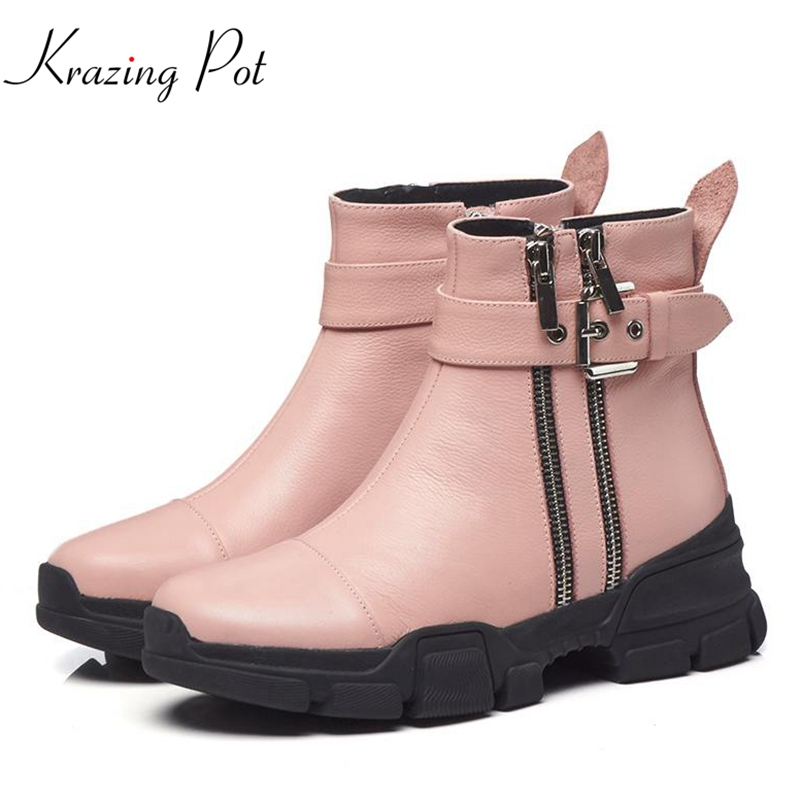 Krazing Pot genuine leather luxury Winter streetwear Princess style med heels round toe rivets zipper motorcycle ankle boots L83Krazing Pot genuine leather luxury Winter streetwear Princess style med heels round toe rivets zipper motorcycle ankle boots L83