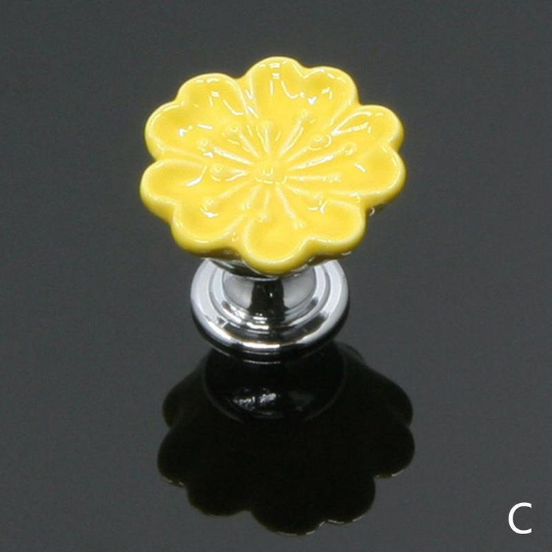 1 шт. Европейский стиль керамические Круглые цветочные ручки для шкафов, гардеробов, Кухня дверь в сад Слива фарфоровая ручка современного шкафа ручки - Цвет: Yellow