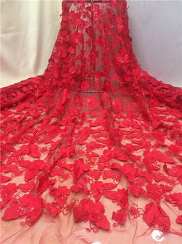 Red Color French net lace fabric 2018 latest african guipure lace fabric with embroidery mesh tulle sequins lace fabric X12