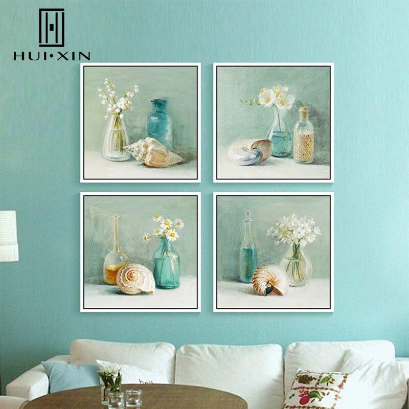 Elegant Romantic Paintings: Fresh Blue Glass Bottle Elegant Flowers Romantic Sea Snail