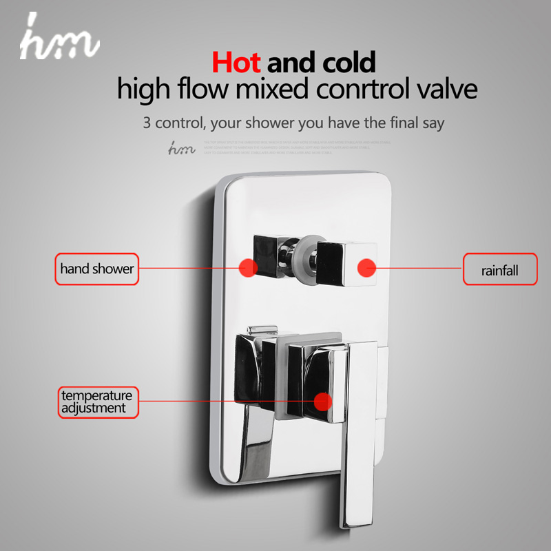 hm Valve Mixer Solid Brass In Wall Shower Faucets Concealed Bathroom Control Switch Valve Water Shower Switch Mixing Valve brass concealed shower mixer three function shower valve hot and cold function concealed mixing valve wall switch