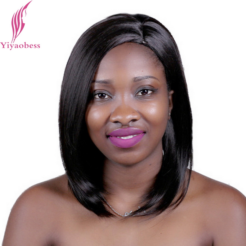 Yiyaobess 35cm Heat Resistant Synthetic Straight Short Bob Wig For White Women U Part Natural African American Wigs