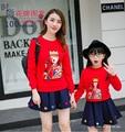 2017 Корея Стиль Мать Дочь Платья Красная Футболка Семья Посмотрите Соответствующие Наряды Детская Одежда Мама И Дочь Новорожденных Девочек Одеваться