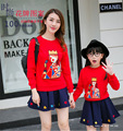 2017 Korea Style Mother Daughter Dresses Red T-shirt Family Look Matching Outfits Kid Clothes Mom And Daughter Baby Girls Dress