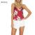 Vancol moda 2017 v neck flor impresso curto cortadas feminino sem encosto vermelho verão partes superiores das senhoras de cetim mulheres tanque camis top
