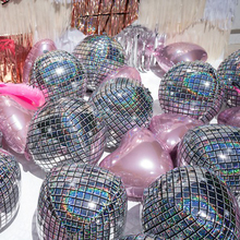 """Holographic Silver Laser Disco Ball Balloon Hangable 22"""" 4D Large Inflatable Sphere Aluminum Foil Balloon Birthday Wedding Party"""