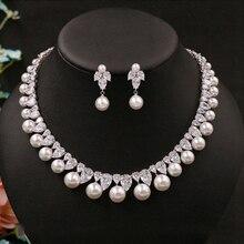 Boucles doreilles en zircone cubique, ronde, perceuse Noble, délicate, collier de mariée, pendentif, accessoires de mariage, bijoux pour femmes