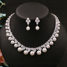 Cubic Zirconia Round Pearl Drill Noble Delicate Bridal Necklace Pendant Stud Earrings Jewelry Wedding Accessories For Women