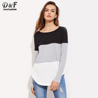 Dotfashion Striped Cut And Sew Curved Hem Tee 2017 Color Block Round Neck Woman Tops Autumn