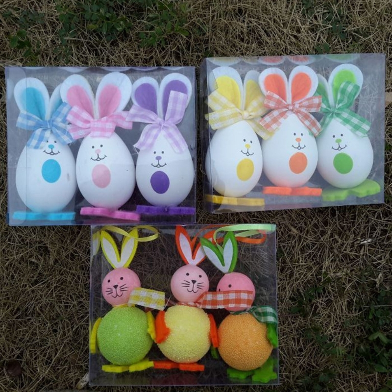 >New 3 Pcs Easter Eggs Cute Bunny Rabbit Chick Hanging Toy Kids Home Party <font><b>Decor</b></font> <font><b>Gifts</b></font>