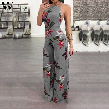 Summer Casual Stripe Printed Sexy Jumpsuit 2019
