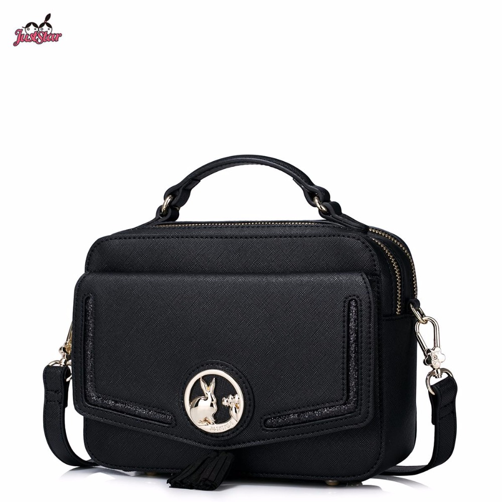 ФОТО Just Star Brand Design Fashion Bunny Tassels PU Women Leather Girls Ladies Handbag Shoulder Crossbody Small Bags