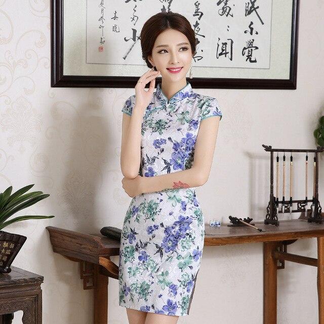 Women Chinese Traditional Clothes Dress Cheongsam Qi Pao Silk Embroidery Orchid Peony Flower Printing Mini Short Cheongsams