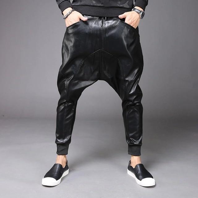M-6XL New Fashion Mens Punk Moto PU Faux Leather Casual Harem Drop Crotch Pants Jeans Street Dance DJ Rock Slacks Trouser M-2XL 1