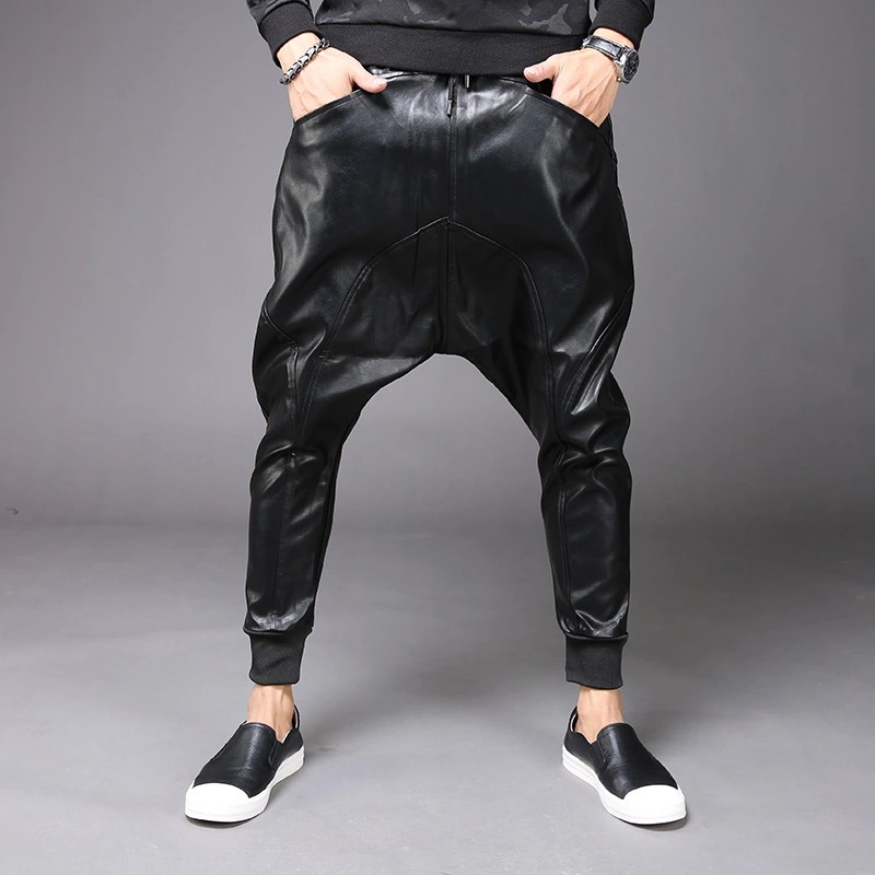 New Fashion Mens Punk Moto PU Faux Leather Casual Harem Drop Crotch Pants Jeans Street Dance DJ Rock Slacks Trouser M-2XL