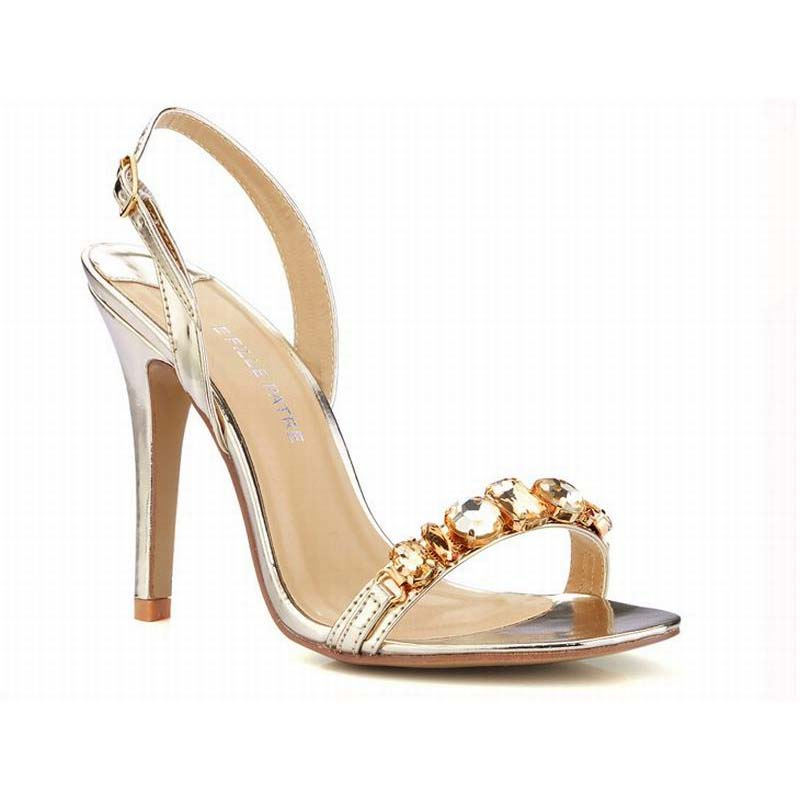 ФОТО plus size 35-43 sexy gold/silver women high heels rhinestone sandals 2016 party wedding ladies high heeled shoes summer fashion