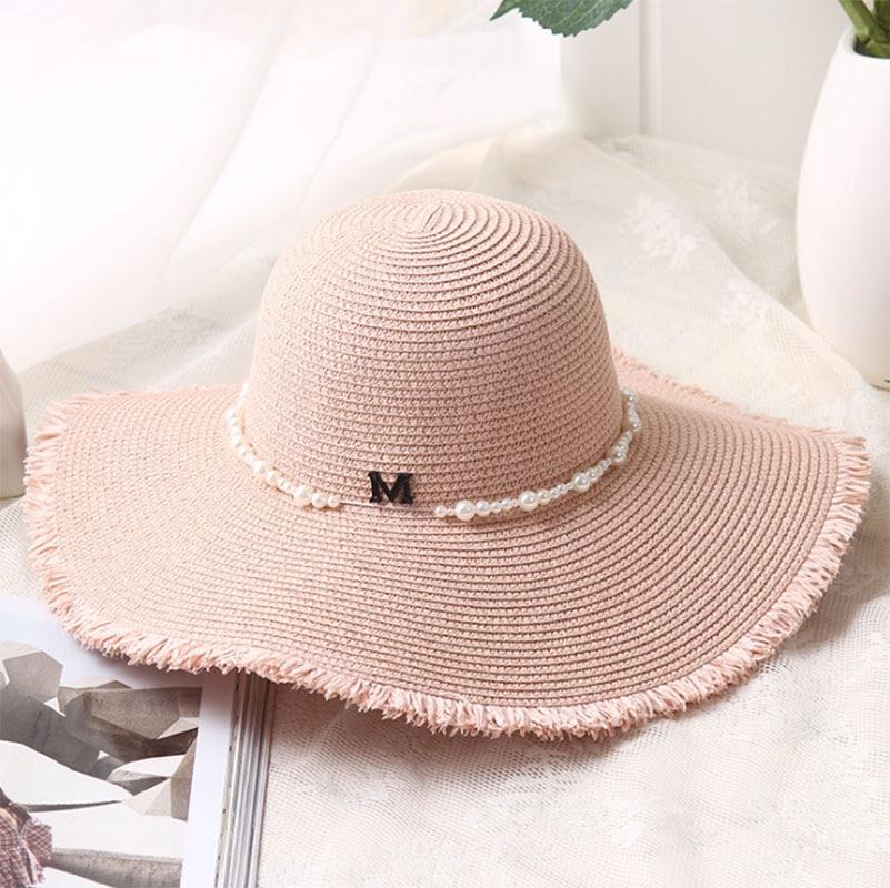 Kopfbedeckungen Für Damen Xincai Flat-top-strohhut Sommer Frühling Frauen Reise Caps Strand Sonnenhüte Atmungsaktive Mode Faltbare Krempe Stroh Im Freien Hut