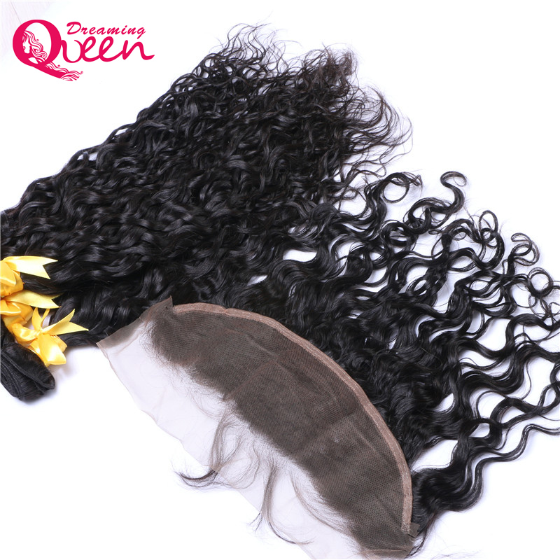 Brazilian Natural Wave 3 Bundles Human Hair With Lace Frontal 100% Pre Plucked 13X 4 Lace Closure Dreaming Queen Remy Hair