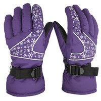 Thickened Warm Waterproof WindProof Anti Cold Women Skiing Gloves Black Purple Cycling Gloves Snowboard Ski Gloves