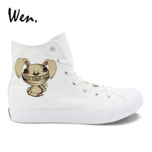 Wen White Canvas Women Casual Shoes Zombie Rabbit Tusks Teeth Carrot Designs Original Black High Top laced Men Comfy Sneakers(China)