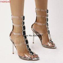 83cf02c0fa Sexy Pvc Transparent Gladiator Sandals Woman Open Toe Rhinestone Diamond  Clear High Heel Shoes Women Summer Boots