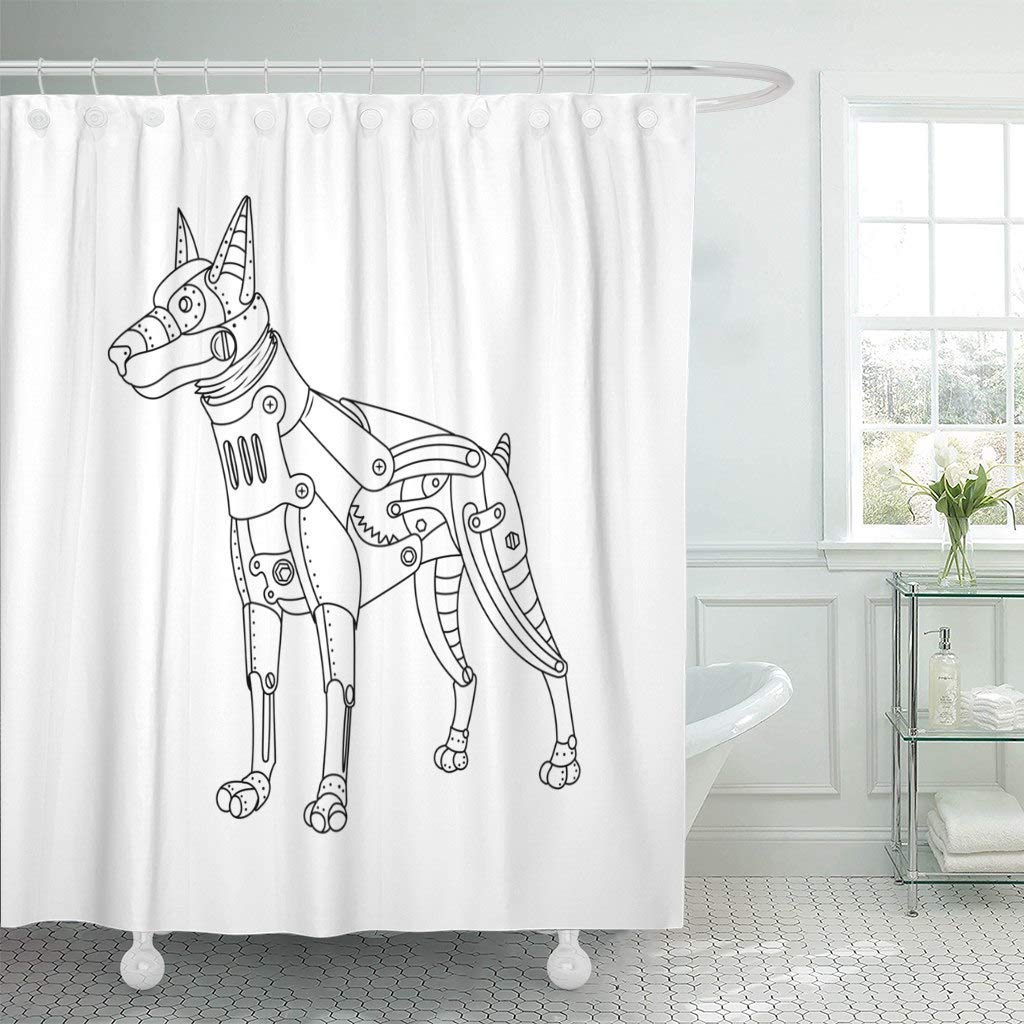 Us 17 06 36 Off Shower Curtain Hooks Robot Steam Punk Style Doberman Dog Mechanical Animal Coloring Book Raster Abstract Decorative Bathroom In