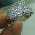 Виктория вик игристое ювелирные изделия 10KT золото заполненные белый топаз имитация алмаз лента свадьба кольцо Sz 5 - 11 подарок
